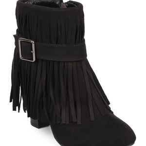 Qupid Suede Belted Fringe Ankle Bootie
